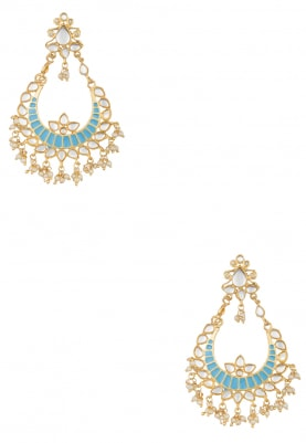 Gold Plated Kundan and Sky Blue Enamel Chandbali Earrings