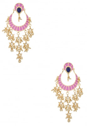 Gold Plated Kundan and Rose Pink Enameled Earrings