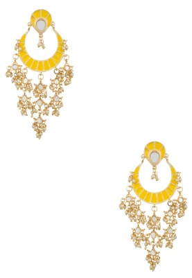 Gold Plated Kundan and Sunflower Yellow Enameled Earrings