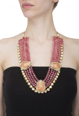 Gold Plated Rouge Beads and Kundan Studded Necklace