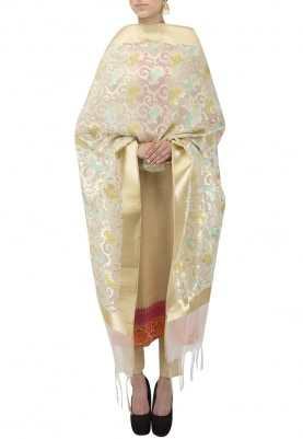 Cream and Golden Kora Jaal Dupatta with Hint Of Green