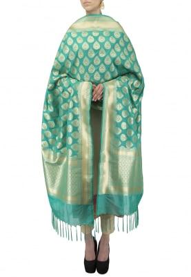 Sea Green Banarsi Paudi Silk Dupatta with Tear-Drop Woven Motif