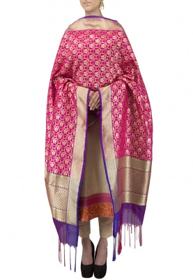 Pink Banarsi Paudi Silk Dupatta Woven Motif and Contrast Color Tassel