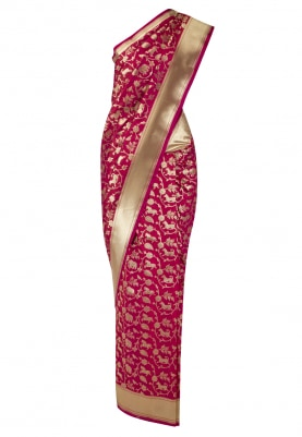Maroon and Gold Classic Shikargah Banarsi Saree