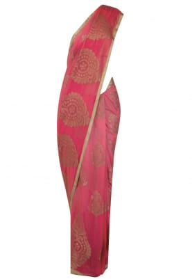 Red and Gold Pure Chiffon Small and Big Boota Zari Saree