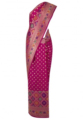 QueenS Pink Banarsi Paudi Silk Saree with Geometic Design Broad Border