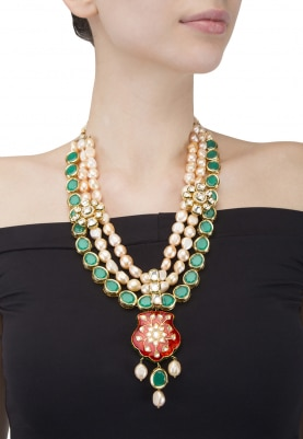 Gold Plated Jadau Red Pendant In Pearls and Kundan Necklace