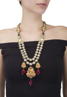 Gold Plated Kundan and Polkis Temple Necklace