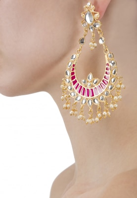 Gold Plated Kundan and Hot Pink Enamel Chandbali Earrings