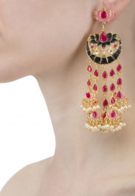 Gold Plated Black, Red, Pink Lotus Earrings
