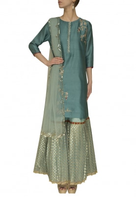 Teal High-Low Bird Motif Kurta, Light Garara and Dupatta