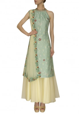Halter Printed Embroidered Aqua Blue Kurta, Light Yellow Sharara and Dupatta