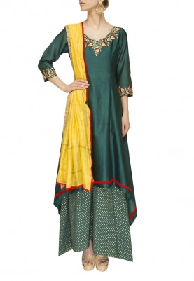 Spurce Green Handkerchief Kurta and Banarsi, Palazzo Paired with Yellow Mukaish Dupatta