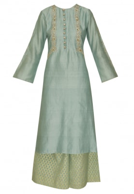 Power Blue Embroidered Kurta, Palazzo and Embroidered Dupatta
