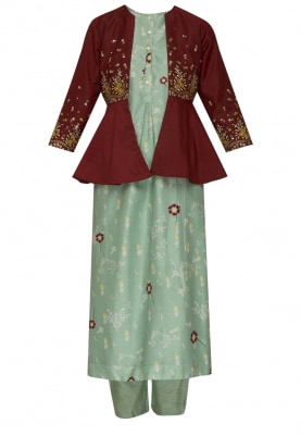 Maroon Peplum Jacket with Aqua Kurta and Pencil Pants