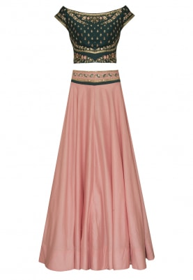 Spurce Green Off=Shoulder Blouse, Pink Lehenga