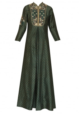 Green Iznik Printed and Embroidered Anarkali with Gold Printed Dupatta