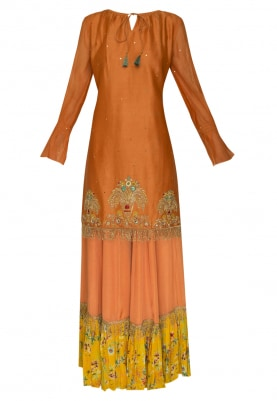 Rust Oreange Embrodiered Kurta, Printed Tier Bottom and Dupatta