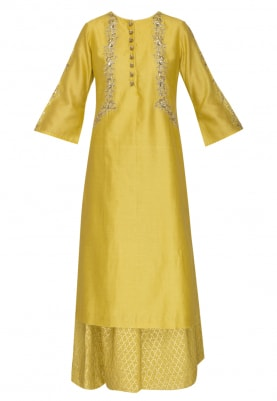 Corn Yellow Embroidered Kurta, Banarsi Palazzo, and Tulle Net Embroidered Dupatta