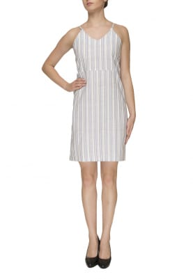 White Camisole with Blue/Grey Stripe Dress