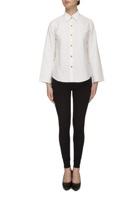 Plain White Flare Sleeve Shirt