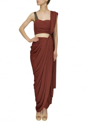 Rust Orange Drape Saree