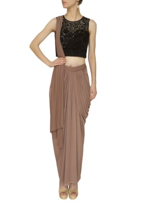 Nude Draped and Stitched Saree with Black Net Embroidered Illusion Blouse