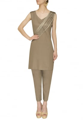 Olive Green Thread Firnges Shoulder Draped Kurta with Straight Pants