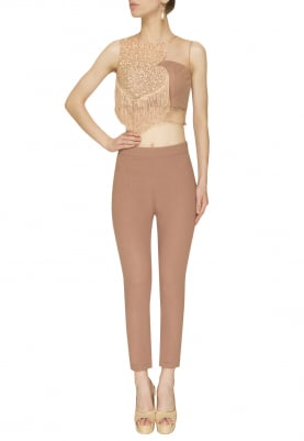 Beige Sequin Embroidered and Fringed Top with Fitted Pants