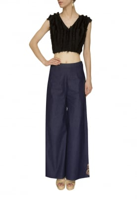 Black Drop Top Styles with Frill and Blue Denim Pant
