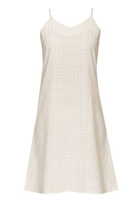 White with Grey Stripe Camisole Style A Line Slip Dress