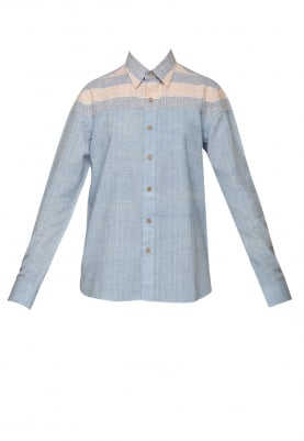Blue Shirt with Pink Stripe On Yoke