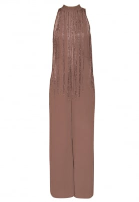 Dusty Pink Cut-Dana Trailing Fringe Jumpsuit