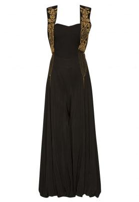 Black Jacket with Zardozi Hand Embroidery and Metallic Chains