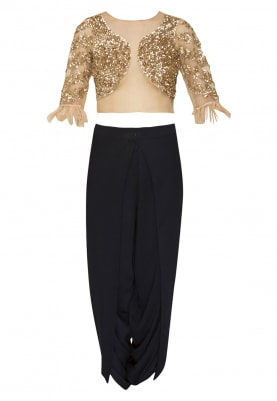 Net Embroidered Baby Pink Top with Feathers At Sleeve and Deep Blue Dhoti Pants