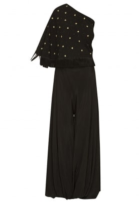 Black One Shoulder Top with Zardozi Details and Fringes