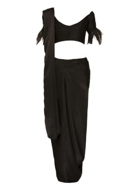 Black Off-Shoulder Blouse with Feather Sleeve Hem and Drape Saree