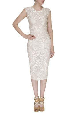White Embroidered Dress with Lace Edging and Silk Thread Work