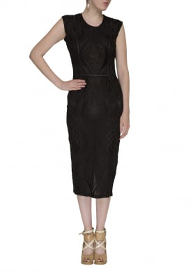 Black Embroidered Dress with Lace Edging and Silk Thread Work