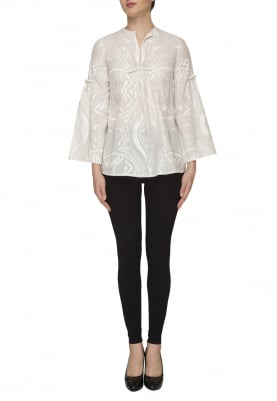 White Embroidered Top with Bead, Lace Edging and Silk Thread Detail