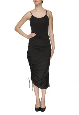 Black Draw-String Gathered Asymmetric Skirt