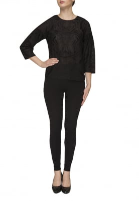 Black Embroidered Top with Gathered Sleeve