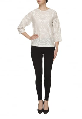 Broken White Embroidered Top with Gathered Sleeve