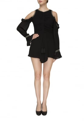 Black Front Gathered Playsuit with Cold Shoulder Long Sleeve with Bell