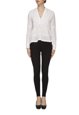 Broken White Embroidered Finish Top with Peplum At Mid-Riff
