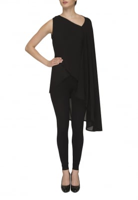 Black Asymmetric Top with Flare Flying Over Arm