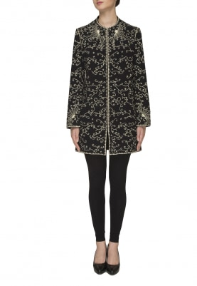 Black Fully Embroidered Front Open Jacket