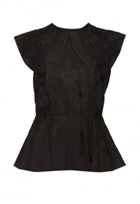 Black Embroidered Peplum Top with Ruffles