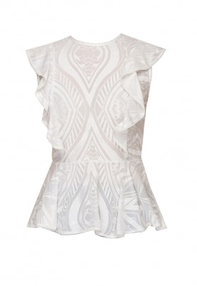 Broken White Embroidered Peplum Top with Ruffles
