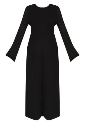 Black Jumpsuit with Lace Edging Finish